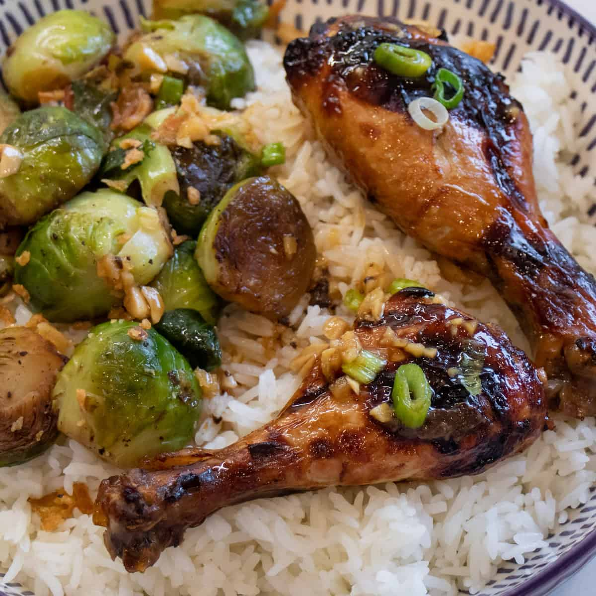 Baked chicken with rice and brussels sprouts